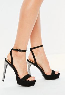 Black Diamante Heel Platform Sandals