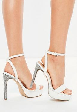 White Diamante Platform Heeled Sandals