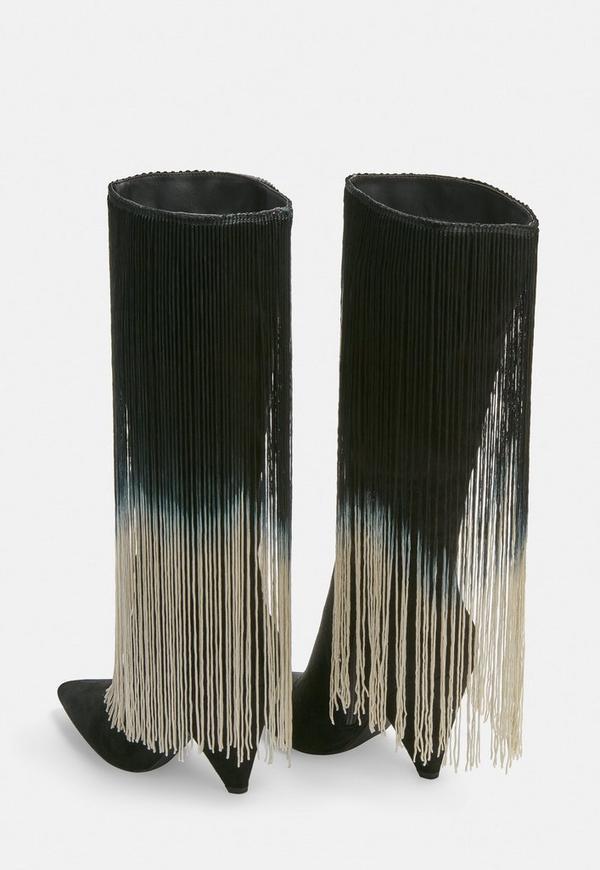 schwarze stiefel mit langen fransen missguided. Black Bedroom Furniture Sets. Home Design Ideas