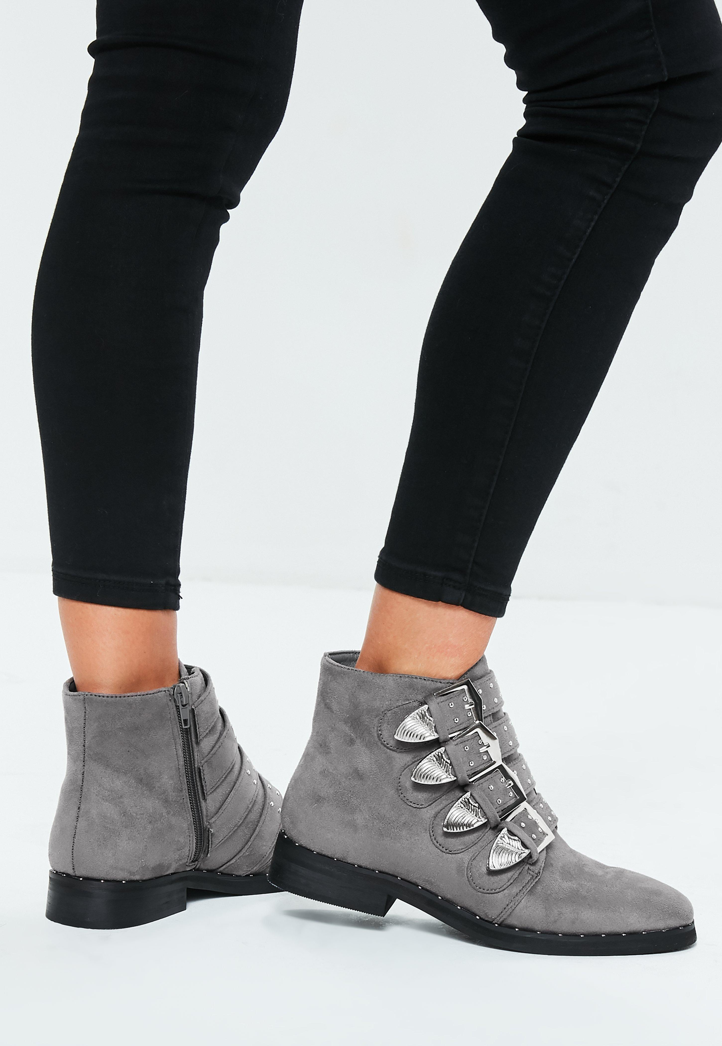 d88d7029711c Grey Buckle Western Ankle Boots