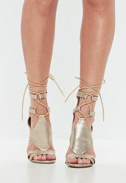 Gold Ankle Tie Gladiator Heeled Sandals
