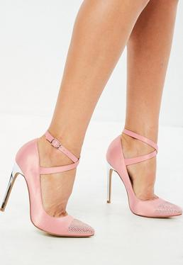 Pink Embellished Toe Heeled Court Shoes