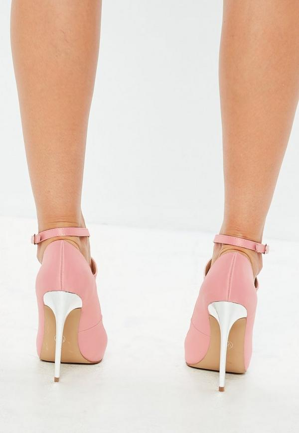 Pink Embellished Toe Heeled Court Shoes by Missguided