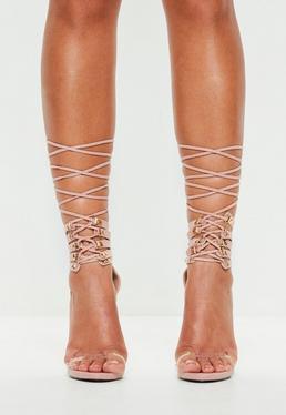 Peace + Love Beżowe wiązane szpilki sandały