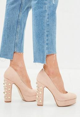 Cieliste buty na obcasie