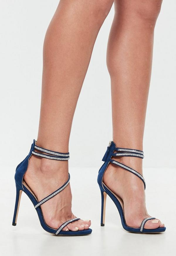Navy Faux Suede Embellished Barely There Heels Missguided