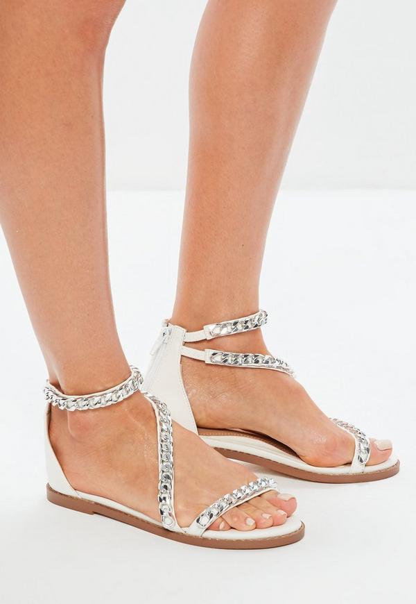 White Asymmetric Chain T Bar Sandals by Missguided