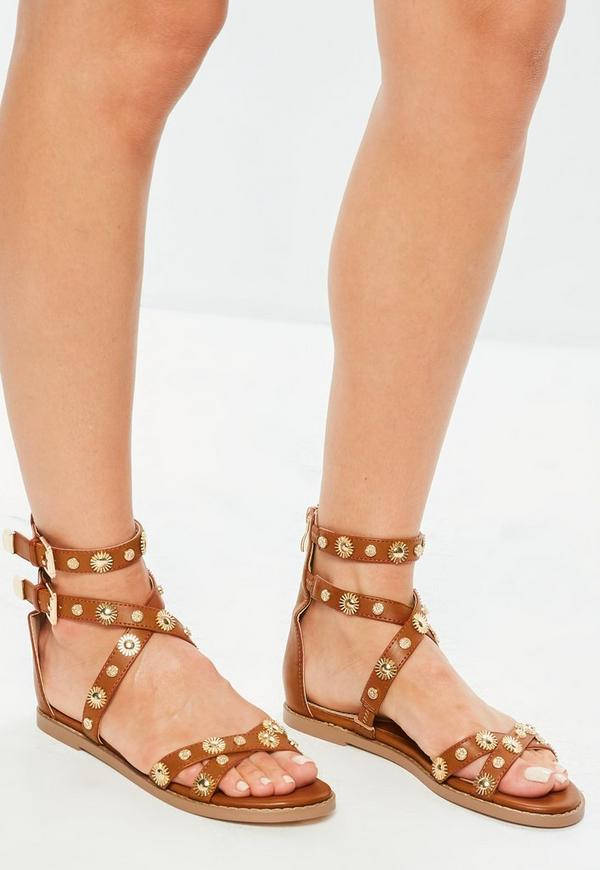 Camel Studded Gladiator Sandals by Missguided