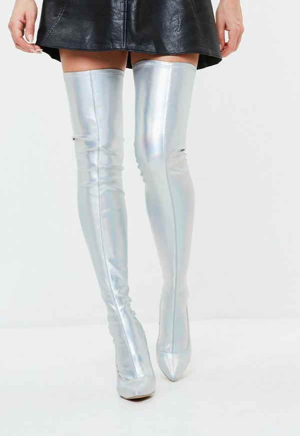 Silver Iridescent Metallic Thigh High Boots Missguided
