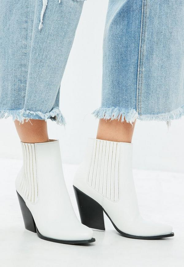 Weiße Western Ankle Boots | Missguided