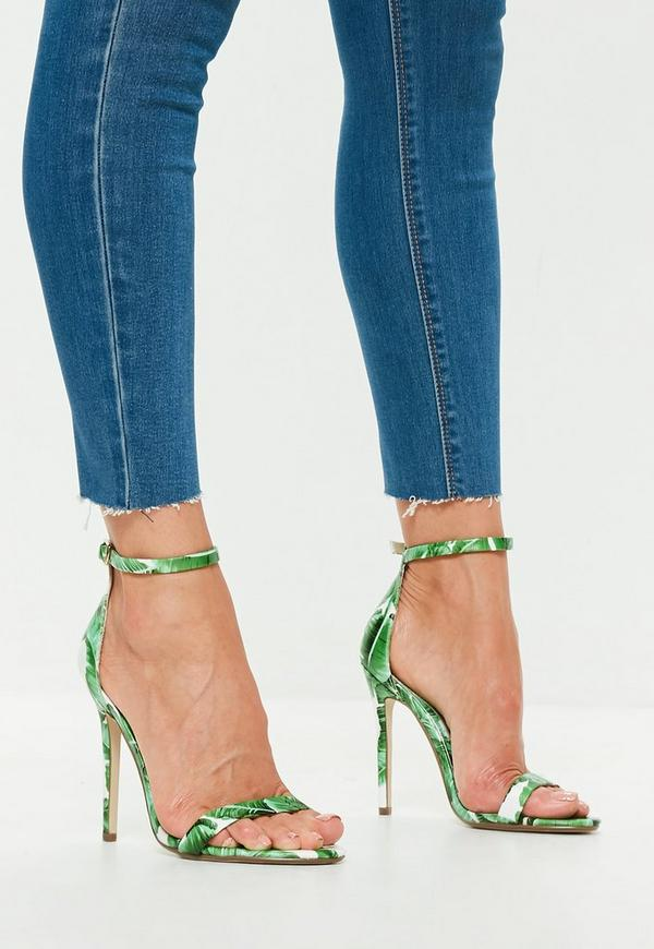 Green Palm Print Two Strap Barely There Heels by Missguided