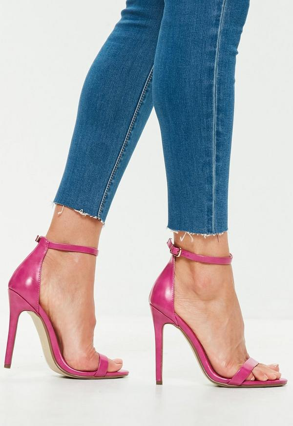 0604d939f96 Pink Faux Leather Two Strap Barely There Heels