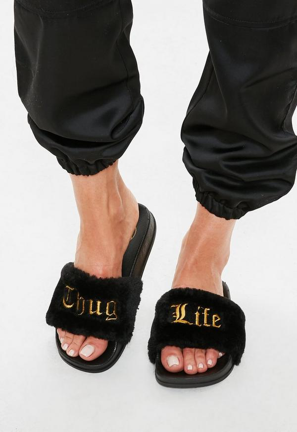 Black Thug Life Slogan Slider by Missguided