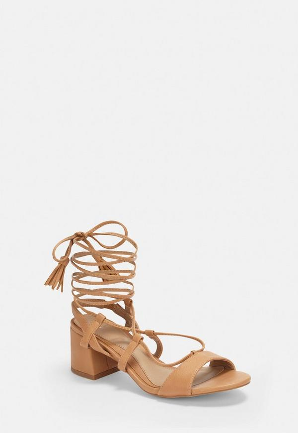 Tan Mid Block Heel Ghillie Sandals by Missguided