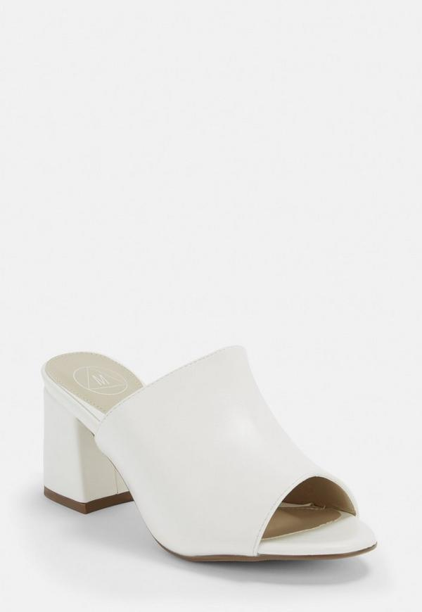 White Faux Suede Mid Flared Heel Peep Toe Mules by Missguided