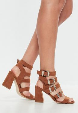 Brown Multi Western Buckle Block Heel Sandals