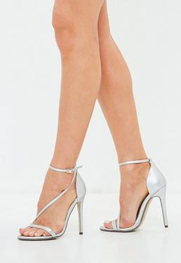 Silver Asymmetric Barely There Heels