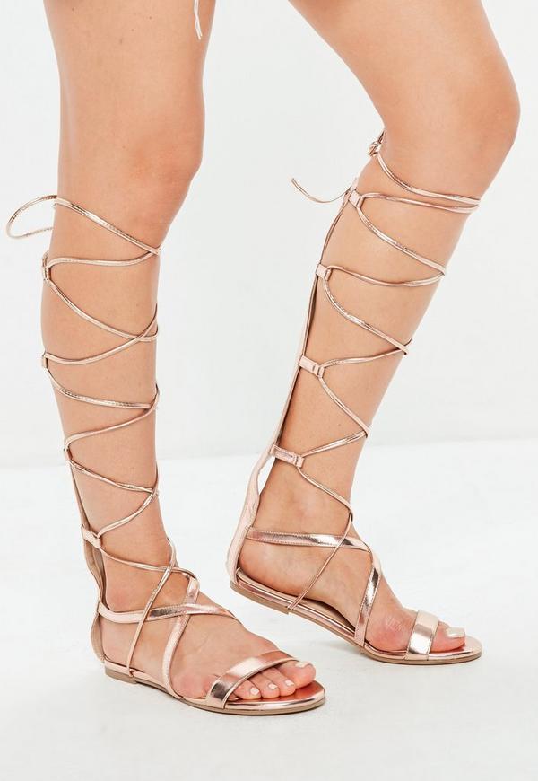 6b041ea7725 ... Rose Gold High Leg Gladiator Sandals. Previous Next