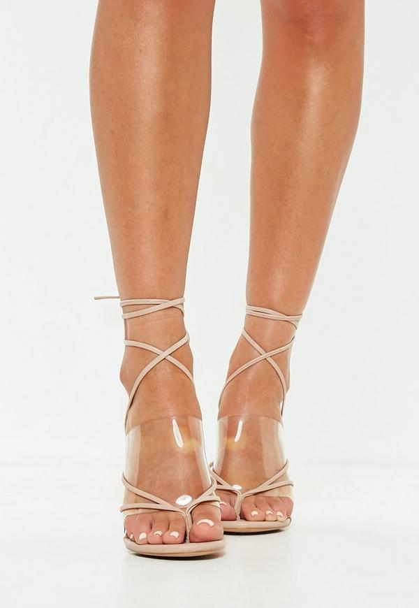 Clover Nude Clear Strap Heeled Sandals | Shoes