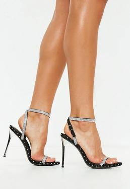 77dfc8684a946 Black Embellished Studded Barely There Heels Black Embellished Studded  Barely There Heels