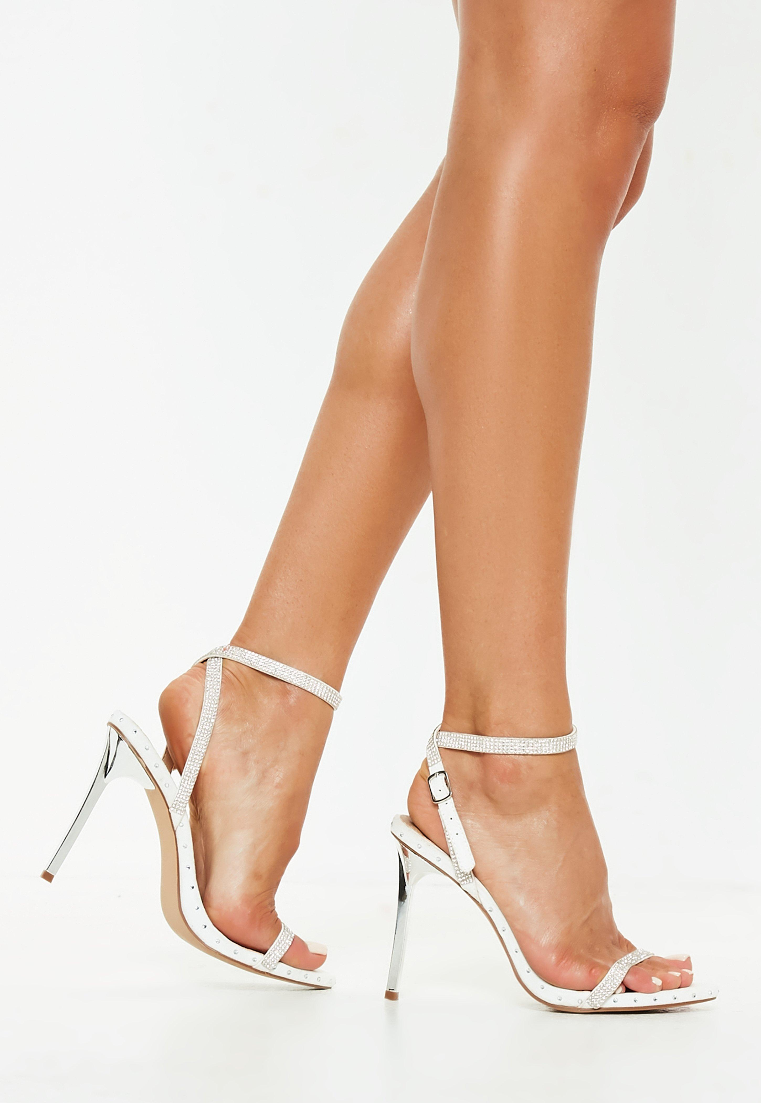 7c4cc7f4650 White Embellished Studded Barely There Heels