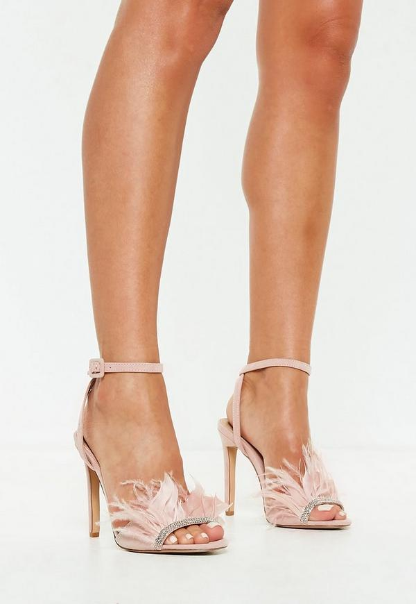 Pink Feather Strap Barely There Heels by Missguided
