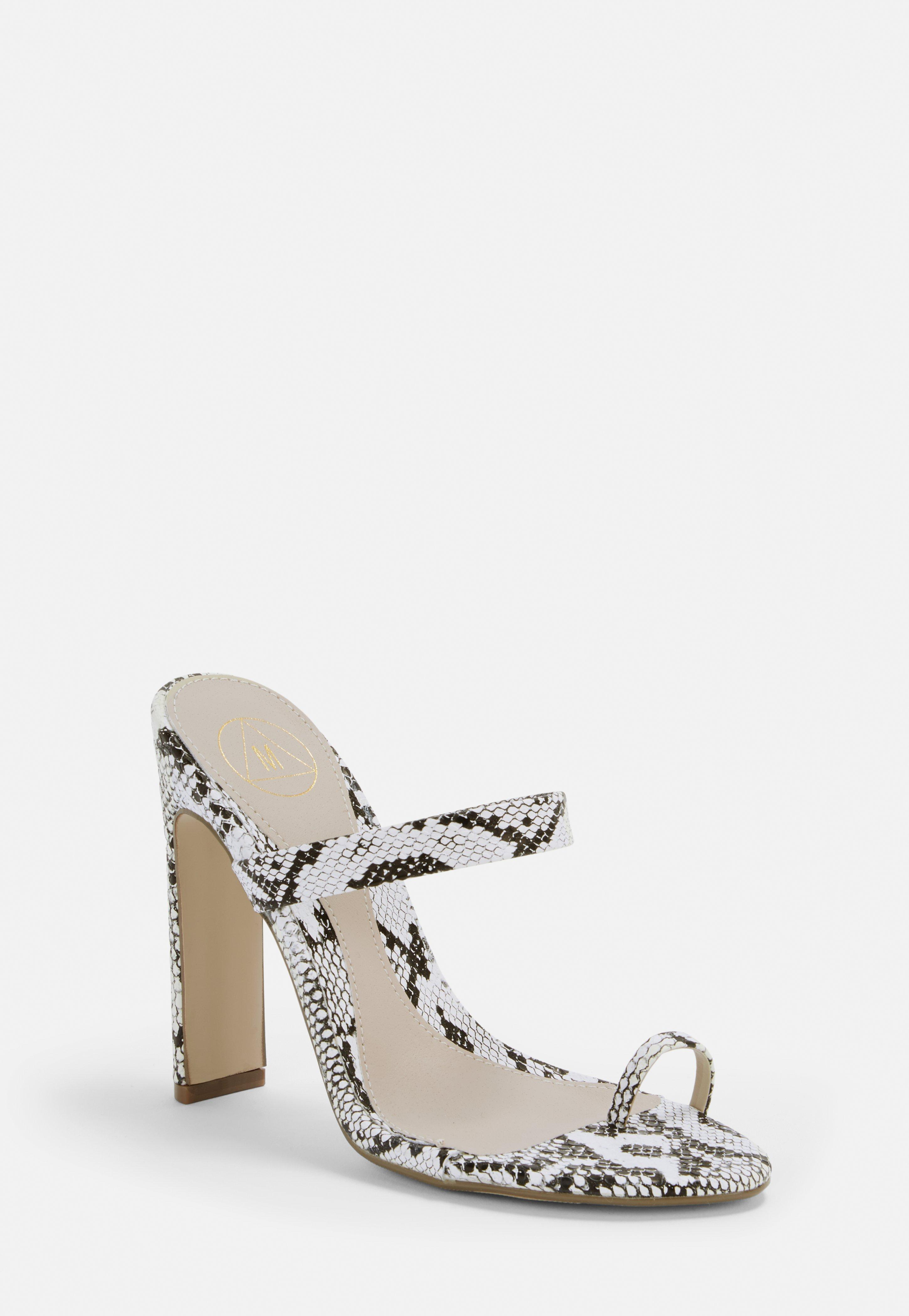 6522cdb823f White Snake Print Toe Post Barely There Mules