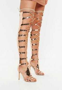 0f95c58ae954 Gold Heeled Sandals · High Leg Gladiator Sandals · Lace Up Sandals · Gladiator  Heels