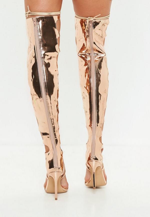 4a9f9e7a0b6 Rose Gold High Leg Heeled Gladiator Sandals. Previous Next