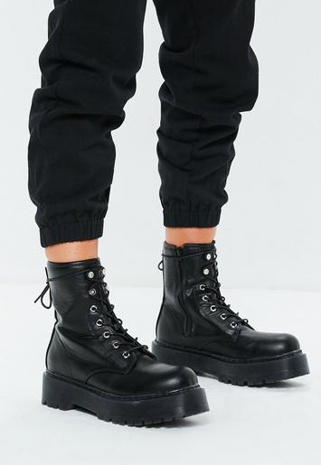 Black Extreme Chunky Sole Lace Up Ankle Boots Missguided