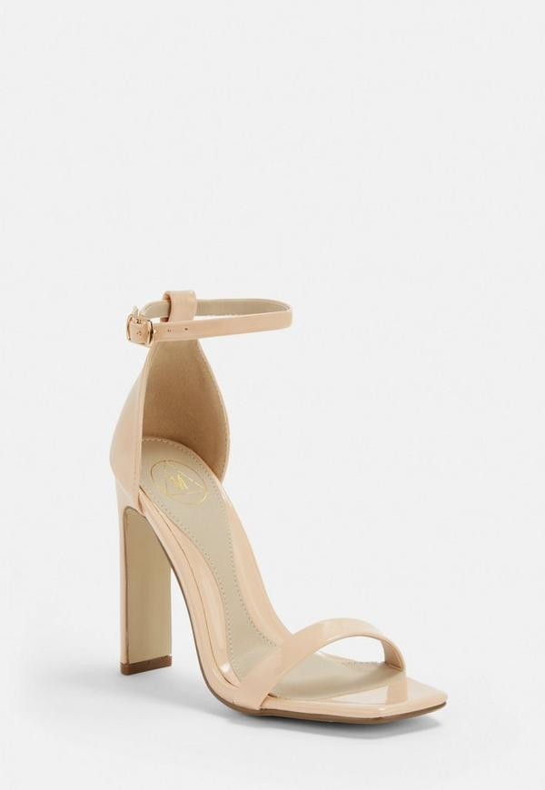 Nude Square Toe Barely There Heels