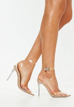 run shoes timeless design 100% quality Nude Pointed Toe Lace Up Barely There Heels