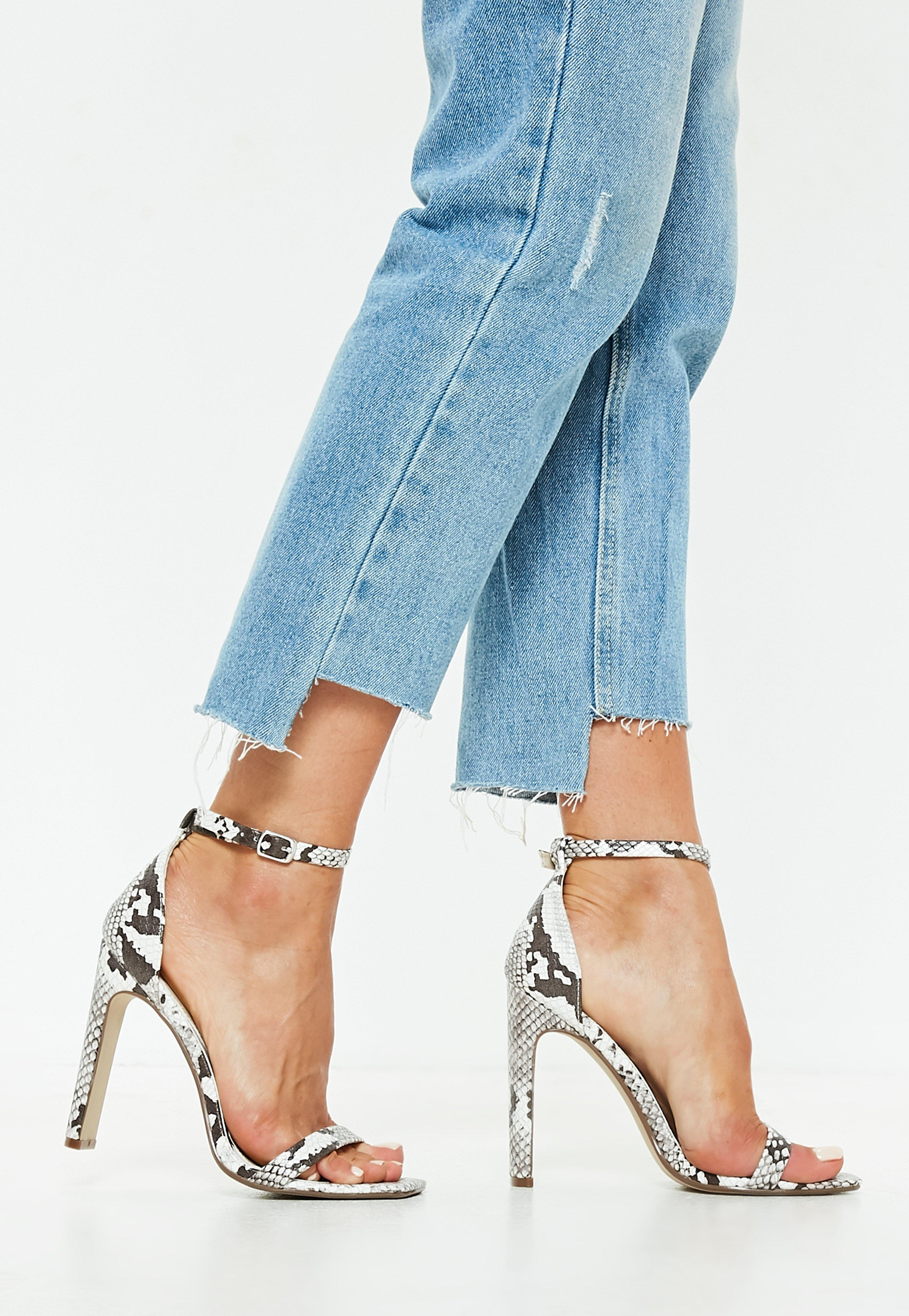 Missguided Snake Print Illusion Barely There Heels I1DVM