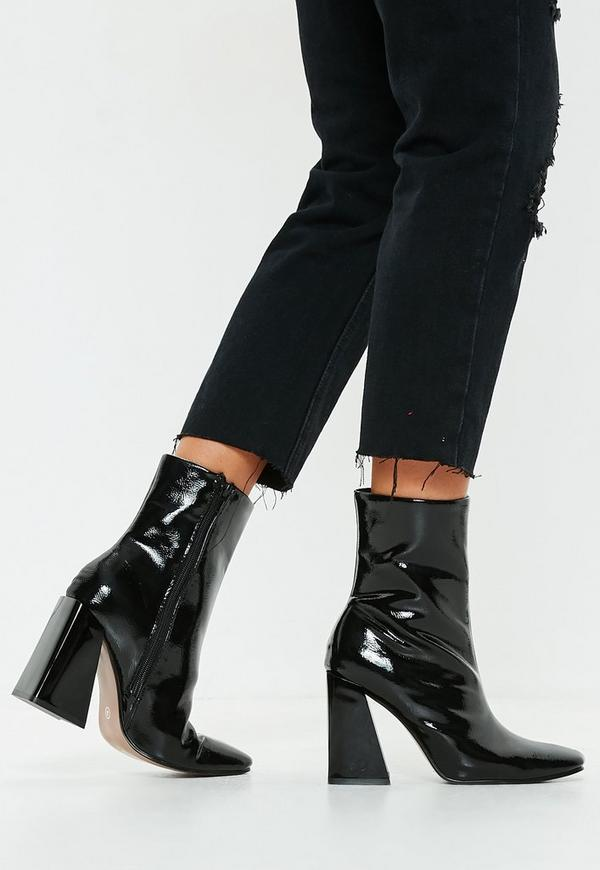 420038a4e7ac ... Black Square Toe New Flare Heel Ankle Boots. Previous Next