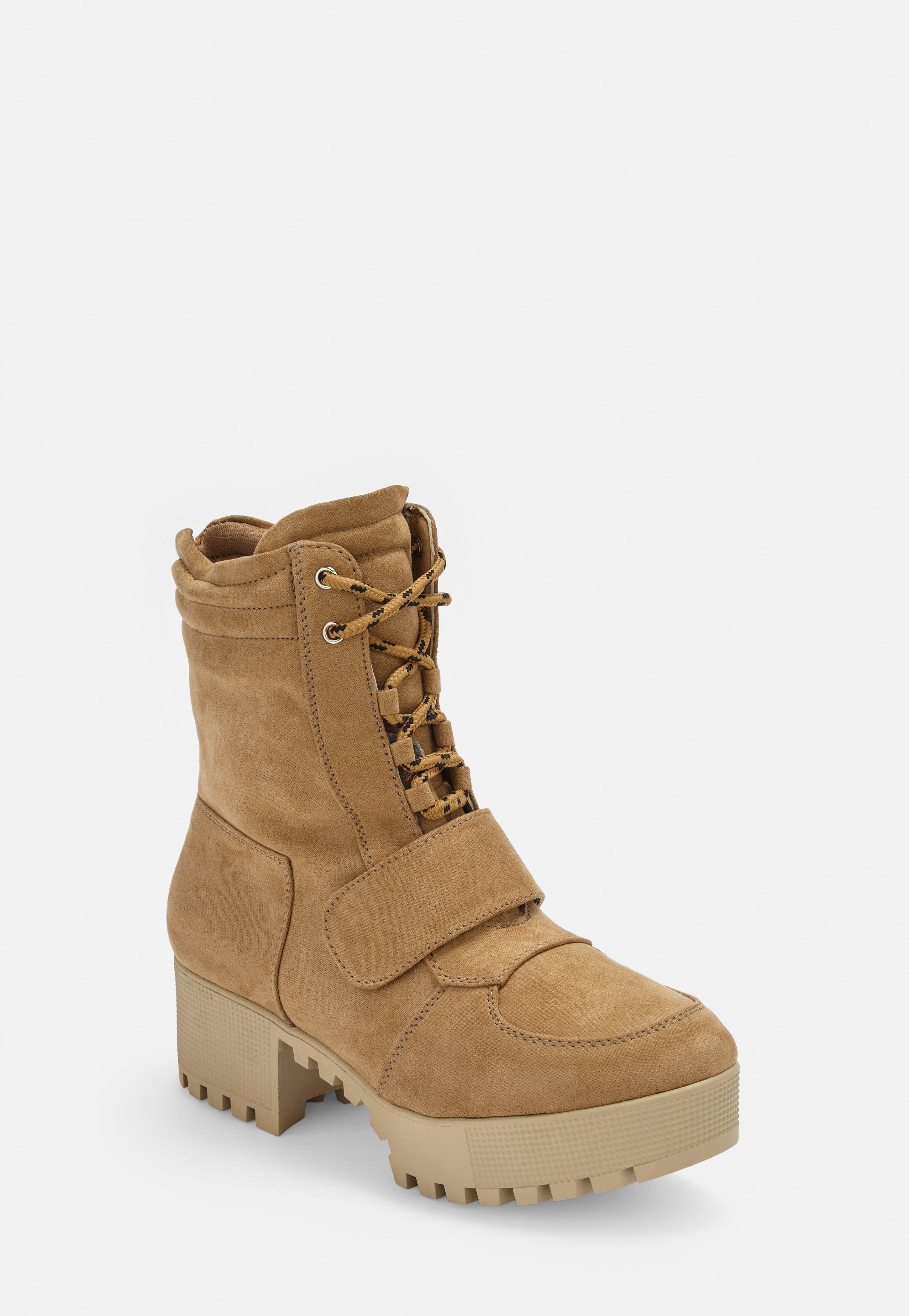 Tan Faux Suede Hiking Flat Strap Ankle Boots  dab305a8d1e5