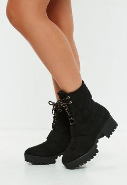 Black Faux Suede Hiking Flat Strap Ankle Boots