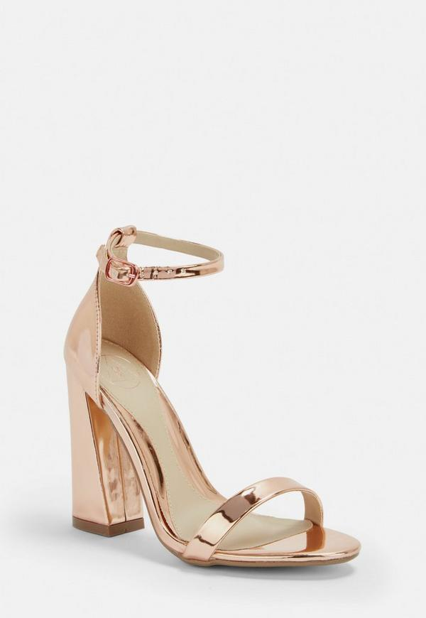 Rose Gold Flared Block Barely There Heels Missguided