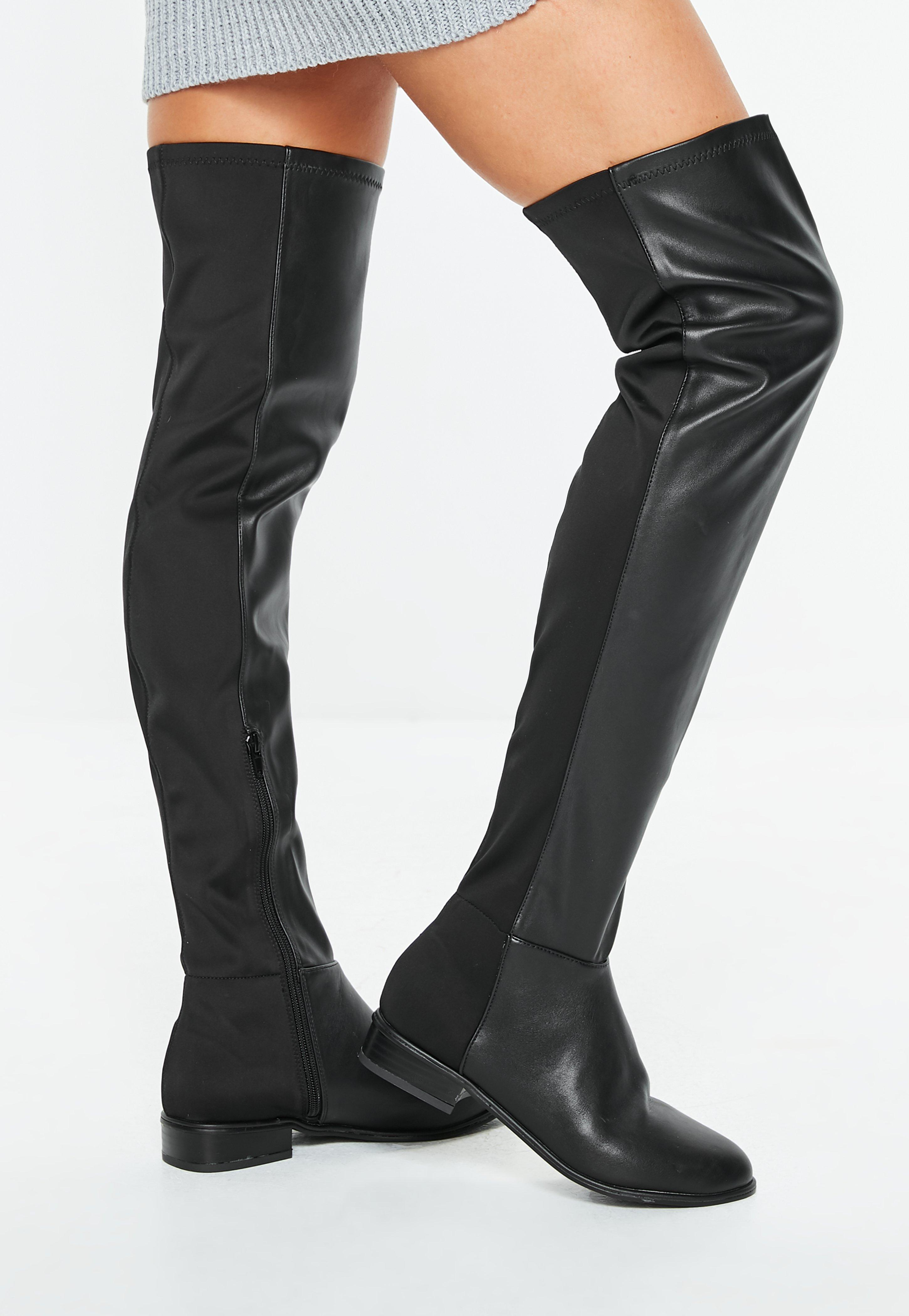 20e673bd5f2 Black Faux Leather Flat Over The Knee Boots