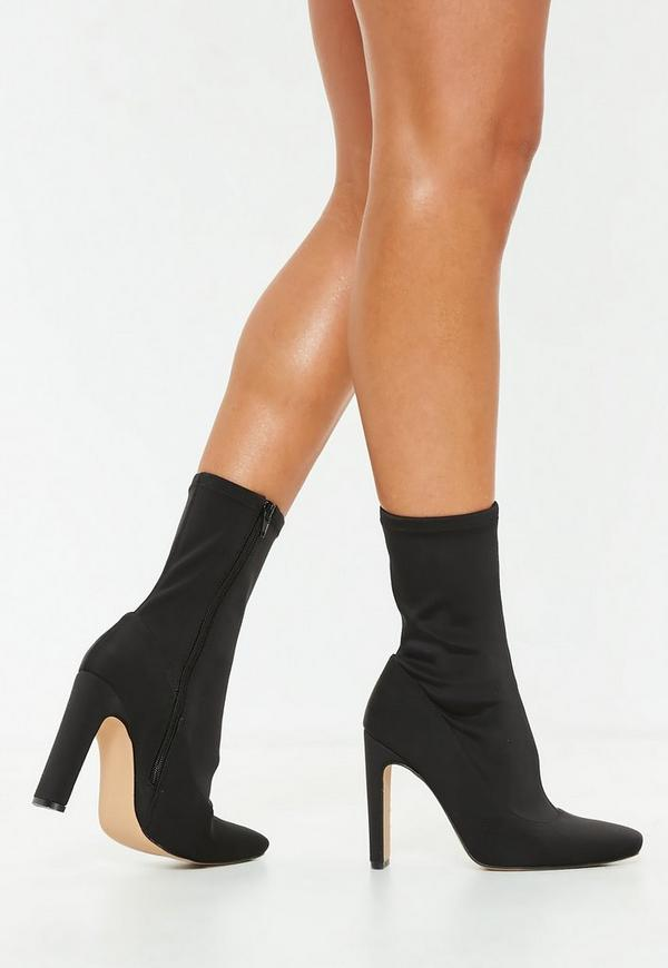 black illusion heel sock ankle boots missguided