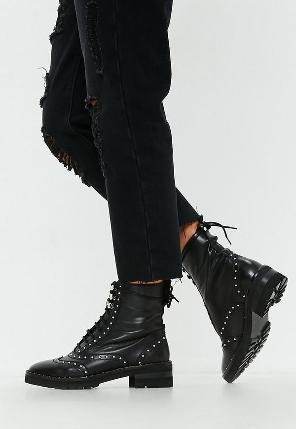 MissGuided bottines noires en cuir détail clous