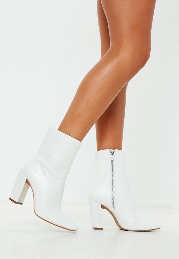 White Feature Heel Croc Ankle Boots Missguided