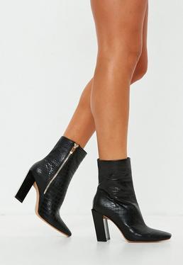 49cbf75bd9d73 ... Black Feature Heel Croc Ankle Boots