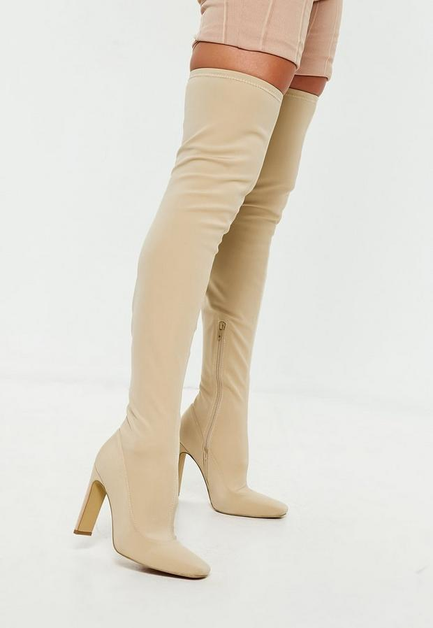 Beige Square Toe Over The Knee Boots