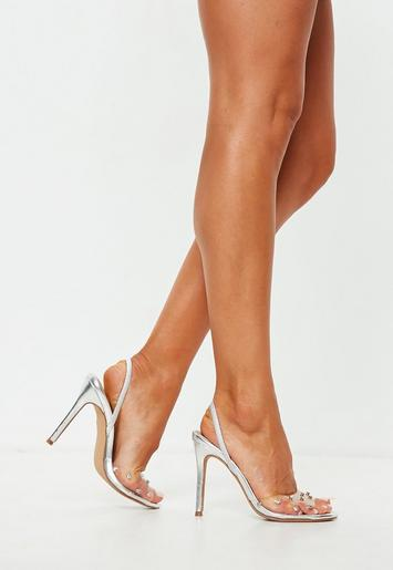 Silver Diamante Clear Slingback Heel Sandals Missguided