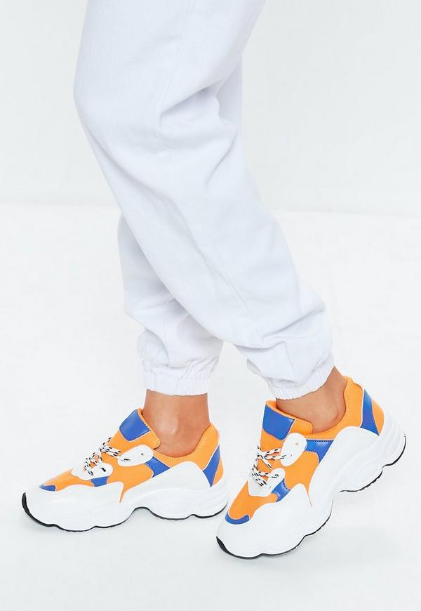 Orange Contrast Lace Chunky Sole Trainer by Missguided