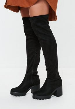 5f3b158ea3e Black Square Toe Over The Knee Boots · Black Cleated Sole Over The Knee  Boots