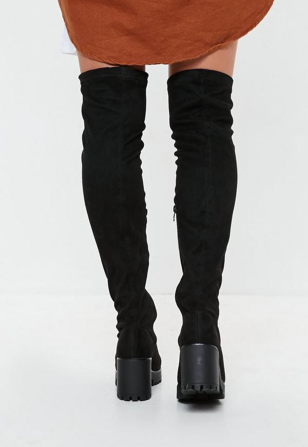 636c0265432 Black Cleated Sole Over The Knee Boots. Previous Next