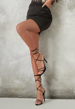 7684756804e Black Pointed Toe Lace Up Barely There Heels