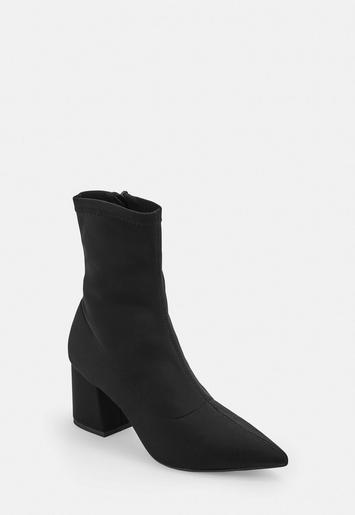 Black Mid Heel Sock Boots Missguided Australia