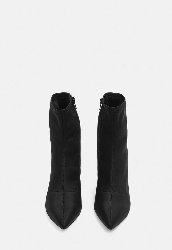 Black Mid Heel Sock Boots Missguided